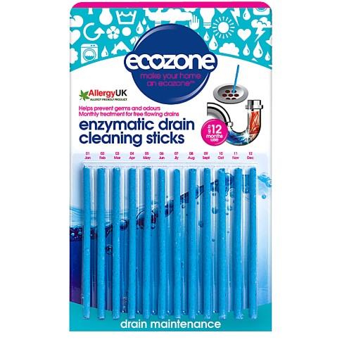 Ecozone Enzymatic Drain Cleaning Sticks - 12 pack
