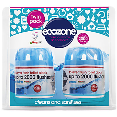 Ecozone Forever Flush Toilet Block 2000 - Blue Twin Pack