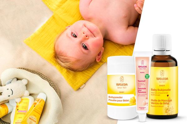 Des produits naturels pour bébé qui prennent soin de la peau en douceur.