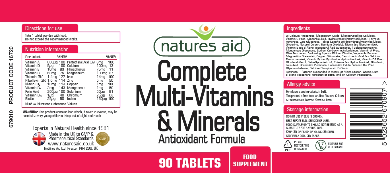 Natures Aid Complete Multivitamins Amp Minerals 90 Tablets