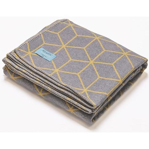 Atlantic Blankets Grey & Yellow Geometric Recycled Cotton Blanket
