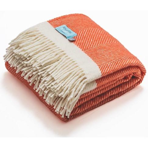 Atlantic Blankets 100% Wool Blanket - Coral Herringbone (130 x 150cm)