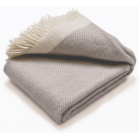 Atlantic Blankets 100% Wool Blanket - Grey Herringbone (130 x 200cm)