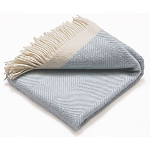 Atlantic Blankets 100% Wool Blanket - Light Blue Herringbone (130 x 200cm)