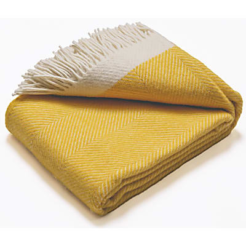 Atlantic Blankets 100% Wool Blanket - Yellow Herringbone (130 x 150cm)