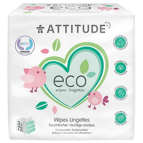 Attitude Eco Baby Wipes (3 x 72 per pack)