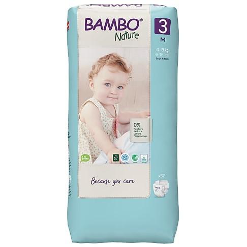 Bambo Nature Disposable Nappies - Midi - Size 3 - Jumbo Pack of 52