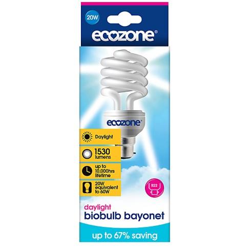 Ecozone Daylight Biobulb 20W (60W Equivalent) Bayonet Fit
