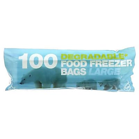 D2W Degradable Food / Freezer Bags - 100 Large