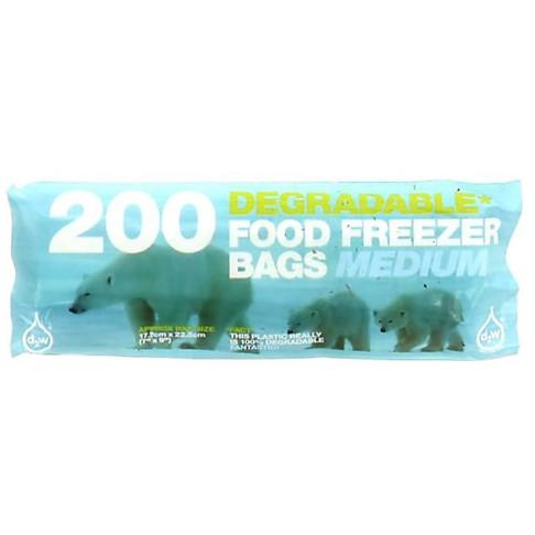 D2W Degradable Food / Freezer Bags - 200 Medium