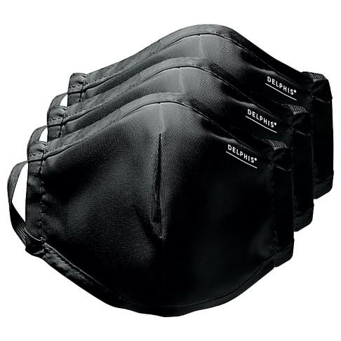 Delphis Reusable Face Masks & Filters - Black (Pack of 3)