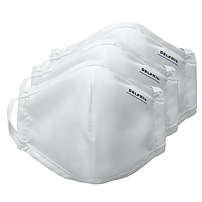 Delphis Reusable Face Masks & Filters - White (Pack of 3)