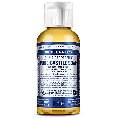 Dr. Bronner's Peppermint Castile Liquid Soap - 60ml
