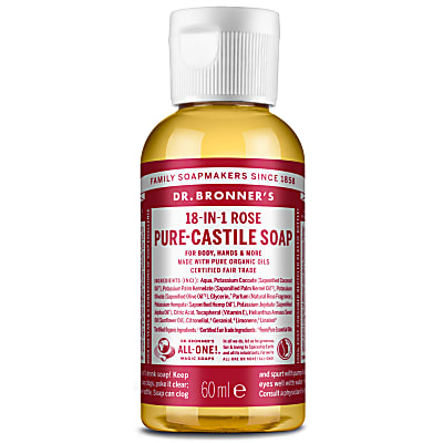 Dr. Bronner's Rose Castile Liquid Soap - 60ml