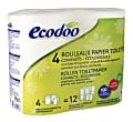 Ecodoo Compact Recycled Toilet Paper, 4 Pack of 450 Sheet Rolls