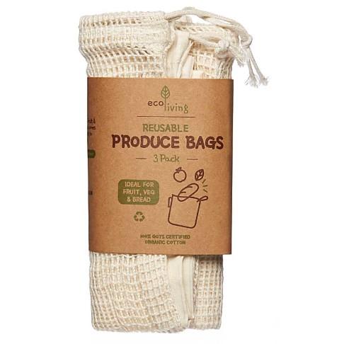 Eco Living Organic Produce Bags & Bread Bag - 3 Pack