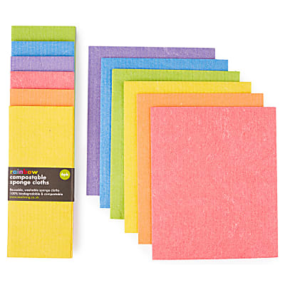 Eco Living Compostable Sponge Cleaning Cloths - Rainbow 6 pack