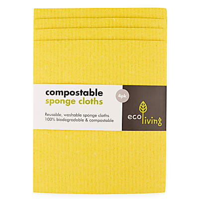 Eco Living Compostable Sponge Cleaning Cloths - yellow 4 pack