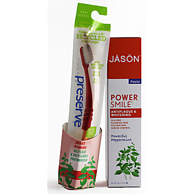 Jason Powersmile Antiplaque & Whitening Toothpaste and Preserve Toothbrush