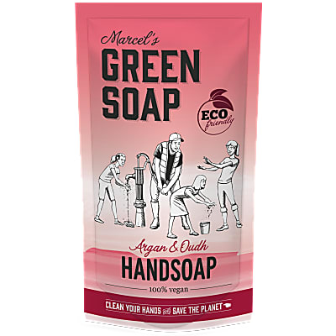 Marcel's Green Soap Handsoap Argan & Oudh Refill Stand up Bag 500ML