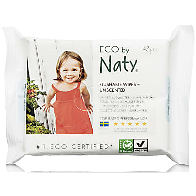 ECO by Naty Wipes - Flushable Wipes Unscented