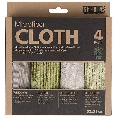 Smart Microfibre Cloths -  4 Pack (Grey-Green)