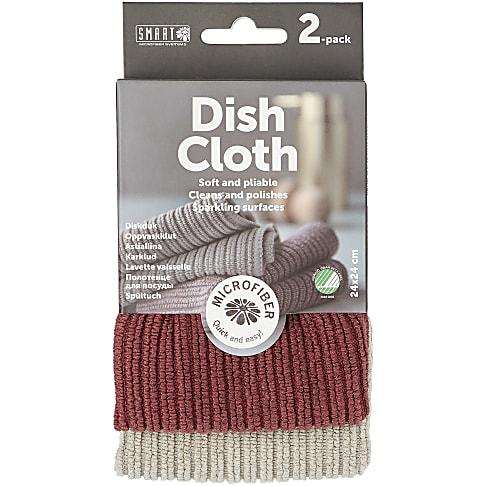 Smart Microfibre Dish Cloth - Grey/Burgundy (2-pack)