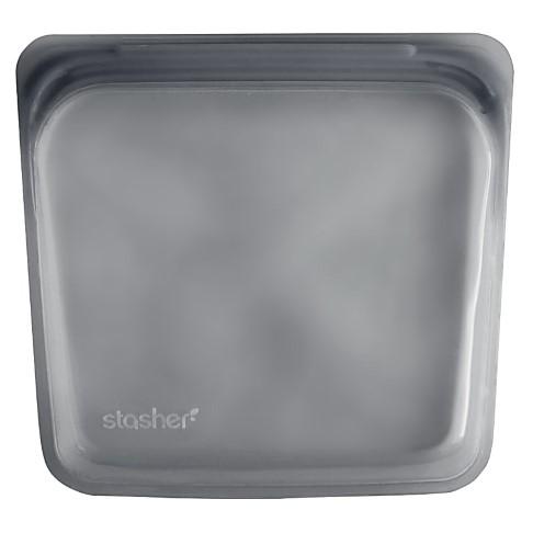 Stasher Bag Black on Grey 18 x 19 cm