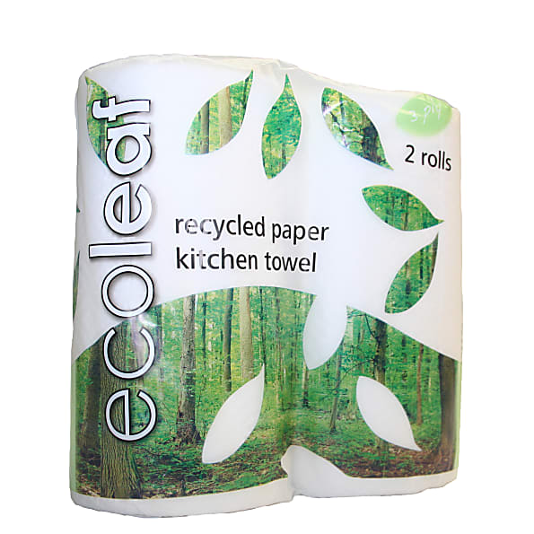 100 Recycled Paper Kitchen Roll Twin Pack
