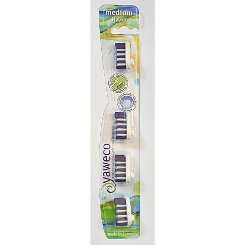 Yaweco Replacement Toothbrush Heads - Nylon Medium (4 Heads)
